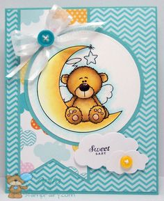 """Sweet little bear is""""Barry Over The Moon"""" from StampFairy Blog."""