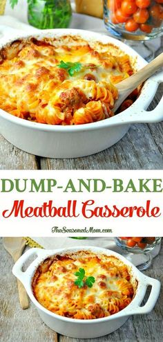 Just 5 ingredients for this easy Dump-and-Bake Meatball Casserole -- and you don't even have to boil the pasta! An easy weeknight dinner! Meatball Recipes, Beef Recipes, Cooking Recipes, Meatball Dinner Ideas, Meatball Meals, Kraft Recipes, Chicken Recipes, Healthy Recipes, Easy Casserole Recipes