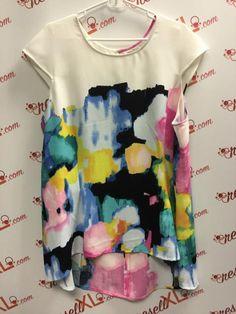 5b87c6a78f5 Lela Rose Floral Watercolor Tunic Blouse Size 22