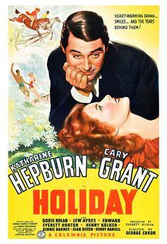 Holiday - Katherine Hepburn Cary Grant - Movie Romance Poster Print  13x19 - Vintage Movie Poster -