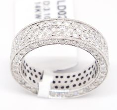 14k White Gold VS2-Si1,G-H 3.10ct Pave Round Diamond Eternity Wide Band Ring 6 #TheDiamondGuru #Eternity