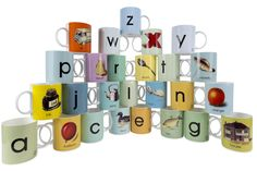Ladybird Books homeware collection from Designed in Colour - Retro to Go Alphabet Mugs, Ladybird Books, Fish House, China Mugs, List, Vintage Kitchen, Book Design, Balloons, Stationery