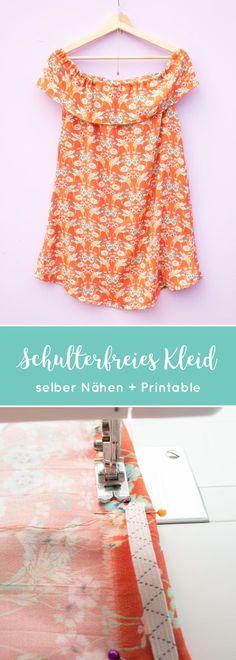 DIY   Schulterfreies Kleid nähen mit einer kostenlosen Vorlage zum Ausfüllen