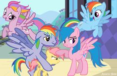 The Dash Family (Updated) by ~AquaticNeon on deviantART Family Portraits Rainbow Family, Sweetie Belle, Mickey Mouse Cartoon, Mlp My Little Pony, Rainbow Dash, Smurfs, Kitty, Fan Art, Deviantart