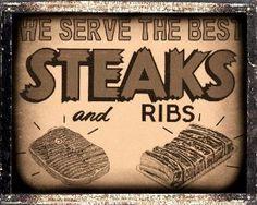 Butcher Ribs shop meat Sign Barbecue BBQ steak restaurant diner deli / vintage retro Wall decor