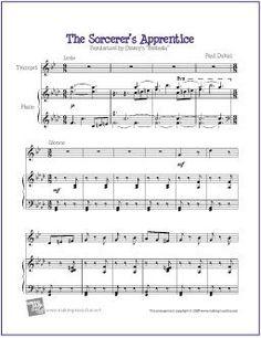 The Sorcerer's Apprentice - Free Easy Clarinet Sheet Music (Digital Print) Trumpet Sheet Music, Clarinet Sheet Music, Easy Piano Sheet Music, Piano Music, Music Sheets, Free Printable Sheet Music, Free Sheet Music, Piano Lessons, Music Lessons