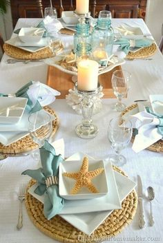 Beach-inspired table setting with new porcelain dishes from Better Homes and Gardens . - Beach-inspired table setting with new china dishes from Better Homes and Gardens (+ entertaining ti - Coastal Style, Coastal Decor, Coastal Cottage, Coastal Bedding, Coastal Farmhouse, Modern Coastal, Coastal Curtains, Coastal Rugs, Coastal Living