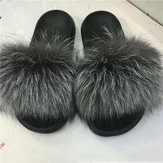 e841654d Fox Fur Slippers Women Flip Flops Real Fox hair Slides Female Furry Slipper