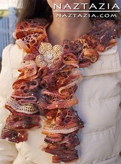 DIY Free Pattern and YouTube Video Tutorial How to Crochet Ruffle Yarn - Ruffled Yarn Scarf by Donna Wolfe from Naztazia