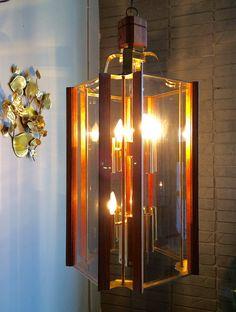 HUGE 9 Light Mid Century Modern Chandelier Retro Wood Glass Brass by Fredrick Ramond by OffCenterDesign7 on Etsy
