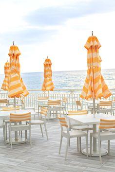 Yellow Striped Umbrellas in Palm Beach
