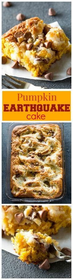 Pumpkin Earthquake Cake - a moist pumpkin cake with coconut, pecans, and swirled with a cream cheese mixture. the-girl-who-ate-. Pumpkin Recipes, Fall Recipes, Holiday Recipes, Fall Desserts, Just Desserts, Dessert Recipes, Brunch Recipes, Earthquake Cake Recipes, Pumpkin Dessert