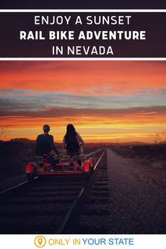This special twilight tour lets you enjoy a scenic sunset by rail bike! A great date or day trip adventure, this unique activity is family-friendly and just minutes from Las Vegas, Nevada. It makes a great outdoor addition to your vacation and the mountain views can't be beat. Nevada Desert, Nevada State, Evening Sky, Swimming Holes, Train Tracks, Mountain View, Hiking Trails, Day Trip, Twilight