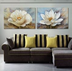 2 Piece Free Shipping Hot Sell Modern Wall Painting  lotus flower  scenery  Home Decorative Art Picture Paint on Canvas Prints-in Painting &...