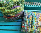 Saori Hand woven, hand spun , accent throw ART pillows : Prayer flags
