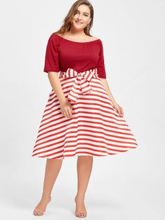 Vintage Dresses Plus Size Stripe Party Knee Length Dress Boat Neck Short Sleeves Robe Female Vestidos Half Sleeve Dresses, Half Sleeves, Dresses With Sleeves, Short Sleeves, Party Dresses For Women, Summer Dresses, Gown Pattern, Ball Gown Dresses, Retro Dress