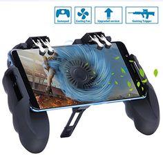 HEYSTOP Manette PUBG Mobile Contrôleurs de Jeu Mobiles[Six-Finger Fonctionnement Version] avec Ventilateur de Refroidissement Manette de Jeu Sensitive Jeux Mobiles Joysticks pour Android et iOS