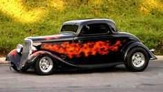 1934 Ford #34 in black and with flames look great dont they