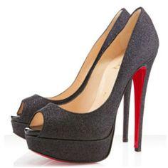 sale red bottom heels-Lady Peep glitter pumps black