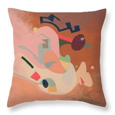 "Abstract Throw Pillow featuring the painting ""Conversation 06"" by Mark Turner"