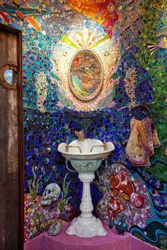 (Has to be Gaudi! Is there where we get the term 'gaudi' from? Mosaic Art, Mosaic Glass, Mosaic Tiles, Stained Glass, Glass Art, Gaudi Mosaic, Tiling, Mosaic Bathroom, Mermaid Bathroom