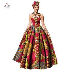 Gender: Women Sleeve Style: Strapless Estimated Delivery Silhouette: Ball Gown Waistline: Empire Neckline: Strapless Decoration: Zippers Material: Cotton Sleeve Length(cm): Sleeveless S African Wedding Dress, African Dresses For Women, African Print Dresses, African Attire, African Fashion Dresses, African Skirt, African Dashiki, African Outfits, African Prints