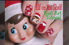 Elf On The Shelf - Holiday Nail Art Tutorial!   My 1st YouTube Nail Video. :)     Sassy Shelly #nails #nail art #Christmas Nails #nailvideo