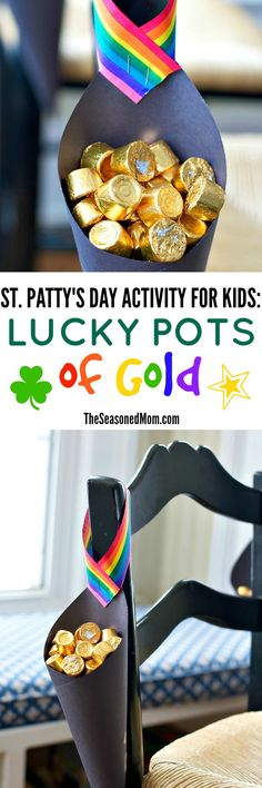 Grab some markers and paper for a simple, fun, and delicious St. Patrick's Day Activity for Kids! These Lucky Pots of Gold are about as easy as it gets...and there's a sweet reward at the end!