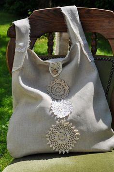 FREE SHIPPING  ECO Large Linen Handbag / por TextileArtBoutique