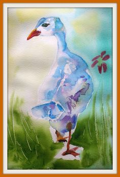 ARTFINDER: Bird # 23 by Polina Morgan - Walking Goose motion. (This original artwork sealed in mat frame for protection, ready to frame in 16 x 20 inches dimensions.)