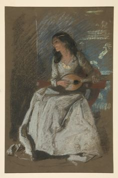 Edwin Austin Abbey (1852–1911): Study of lady playing mandolin. Yale University Art Gallery, New Haven CT. #pastel #Academicism #Abbey