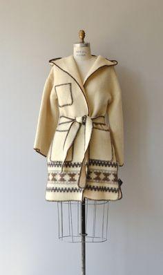 Icelandic Wool coat 1970s wool wrap coat belted by DearGolden