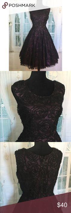 Vintage Tulle Dress Vintage Black lace 3-D pop out flower with lavender slip TULLE Big Flare Swing Dress. ❤️❤️ _______________________________  Size: S/Med BUST: up to 36' Waist: 27-30 Length: 43'Top-bottom  ________________ Vintage Dresses Midi