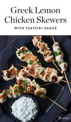Greek Lemon Chicken Skewers with Tzatziki Sauce via @PureWow