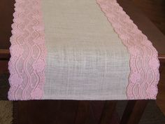 Burlap table runner with pastel pink lace wedding table runner baby shower rustic romantic table decor by jimmie Pastel Pink, Pink Lace, White Lace, Burlap Baby Showers, Wedding Table, Lace Wedding, Dream Wedding, Wedding Ideas, Burlap Table Runners