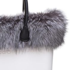 6685f202afc Fox Faux Fur Trim - Grey Black - O Bag Accessory. A finishing touch for the  standard O bags. Fixes inside to the ends of the handles. NOTE  Not real fur .