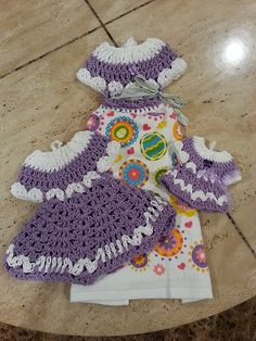 Crochet this beautiful vintage dress towel topper set. Helenmay Crochet You Tube channel