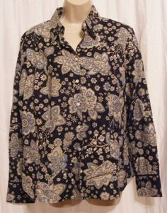 $21.99 Ann Taylor Navy Blue Floral 100% Cotton Long Sleeve Button Front Top 14 NWT $58