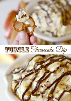 Turtle Cheesecake Dip 15 Delicious Dessert Dips Guaranteed To Satisfy Your Sweet Tooth Dessert Dips, Köstliche Desserts, Dessert Recipes, Dip Recipes, Turtle Cheesecake, Cheesecake Dip, Chocolate Cheesecake, Cheesecake Recipes, Love Food