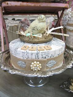 And check out the Vintage Rabbit's custom cakes a la carte for the perfect ho. Hat Box Cake, Burlap Projects, Diy Projects, Birthday Traditions, Altered Boxes, Altered Art, Fake Cake, Shabby Chic Crafts, Hat Boxes