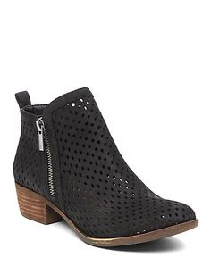 Western-inspired booties crafted from premium leather and finished with zipper detailing.<br/><br/>• 1.1 inch stacked heel<br/>• Nubuck leather upper, synthetic lining, rubber outsole