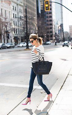 Striped top + pink heels :)