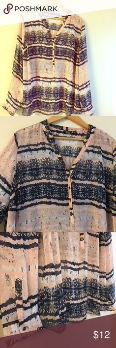 Printed blouse Excellent condition! Pop over pink and black blouse with roll tab sleeves. a.n.a Tops Blouses