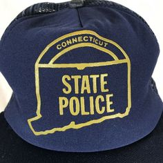Vintage Connecticut State Police Snapback Hat Mesh USA Made Medium Large  Blue Gold Logo a16324325bd5