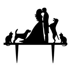 Bride Groom Family Pets Animals Dog Cat Wedding Cake Topper Vet Gift Decoration - Ideas of Wedding Cakes Dog Cake Topper Wedding, Cat Cake Topper, Bride And Groom Cake Toppers, Acrylic Cake Topper, Couple S'embrassant, Aesthetic Couple, Family Cake, Big Family, Cat Wedding