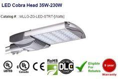 LED Cobra Head 35W-230W:Specifications Type - LED Cobra Head Street Light,  Wattage-  35-230W CRI -> 70 Lumens3,675 - 24,135 Lumen - Per Watt105 Lumen Maintenance  Color Temperature- 4000K   5000K   5700K Beam Angle- 120°