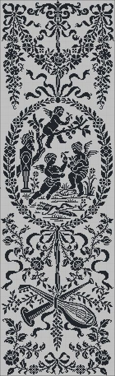 Lace curtain in Louis XVI style | graph for filet crochet.