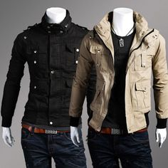 $36.98 / Men's Jackets Multi Pockets Slim Fit Overall Short Jacket via martEnvy. Click on the image to see more! / FREE SHIPPING