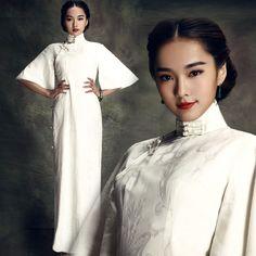 Retro White Cheongsam Dress Cotton Trumpet Sleeve Long Length - Angle Heart