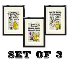 Set of 3 Winnie The Pooh Piglet Dictionary Art Print Picture Nursery Baby Gift
